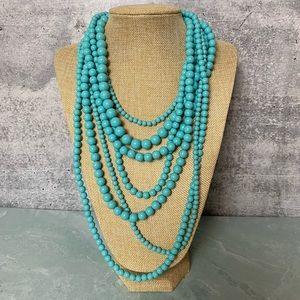 R.J. Graziano imitation turq 7 strand necklace